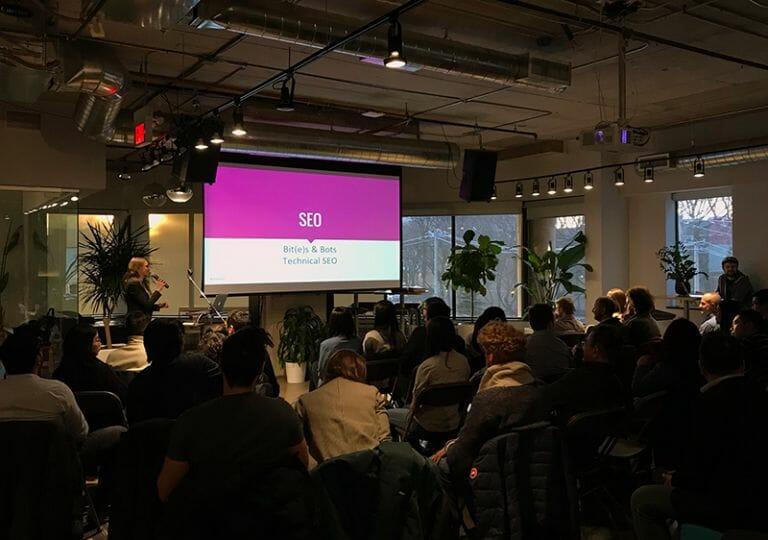 Toronto SEO Consultant Jess Joyce speaks at a tech event